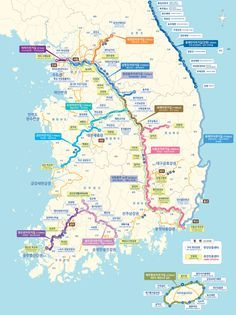 Map of Cycling Routes in Korea