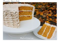 Pumpkin Spice Cake with Spiced Cream Cheese Frosting Recipe by MyCakeSchool.com