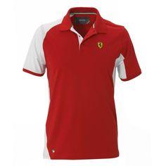 Men's Ferrari Shield Two-Tone Polo Shirt #ferrari #ferraristore #polo #poloshirt #cavallinorampante #prancinghorse #red #rossoferrari #maranellored #gp #racing #style #cool #ss2014 #springsummer2014