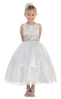 Flower Girl Dresses - Girls Dress Style 5573- Sleeveless Tulle and Sequin Dress