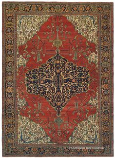 A stunningly ornate medallion provides the focal point for this infinitely sophisticated antique oriental rug in the prized Ferahan Sarouk genre. A deeply saturated palette of sparkling jewel tones imbues each uniquely articulated floral detail with great vitality, while expanses of antique ivory, rich carnelian and midnight indigo add tremendous depth to this high decorative room size antique carpet. A rare profusion of prized greens are used throughout,