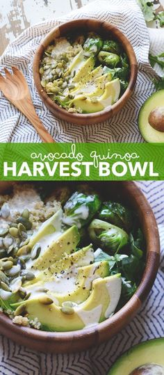 Avocado Quinoa Harvest Bowl - packed with quinoa, pumpkin seeds, brussels sprouts and avocado this bowl is nourishing and so tasty for fall. Pin this healthy, clean eating quinoa recipe to make later. Buddha Bowl Vegan, Superfood, Whole Food Recipes, Cooking Recipes, Fennel Recipes, Arugula Recipes, Detox Recipes, Avocado Quinoa, Vegetarian