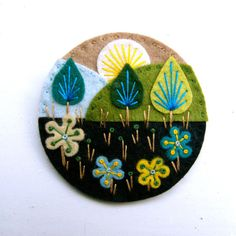 TREESCAPE felt brooch pin with freeform embroidery - scandinavian style. £15.00, via Etsy.
