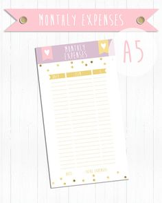 Printable Monthly expenses A5 (Kikki k Style) (the item is in A4 page, you must print it and cut it out) (the item is in png format) (the