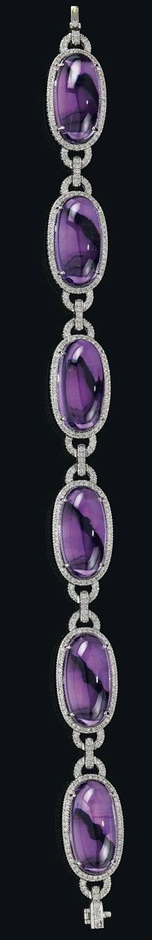 A brilliant and amethyst bracelet, white gold 750, brilliants total weight 2,84 ct, amethysts cabochons total weight 76 ct, length: ca. 19,5 cm, socket fastening, safety fastening, 39,4 g #tiffany tiffany silver necklace sale