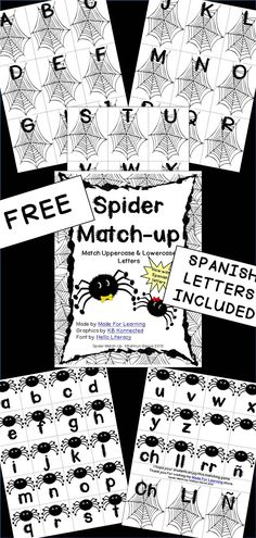 NOW WITH SPANISH LETTERS INCLUDED: Spider Match-up is designed to be a fun center activity for children who need practice matching uppercase letters with lowercase letters. Kindergarten Centers, Kindergarten Classroom, Alphabet Activities, Literacy Activities, Fall Preschool, Learning Letters, Halloween Activities, Lower Case Letters, Dual Language