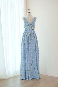 b0420fa09652 Blue floral long bridesmaid backless dress - KEERATIKA LOLITA