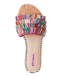 BETSEY JOHNSON Natural & Multicolor Venus Fringe Sandals