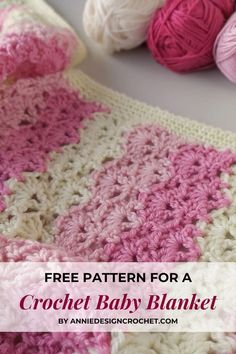 Crochet Baby Blanket Free Pattern, Baby Afghan Crochet, Crochet Square Patterns, Crochet Lace, Baby Afghans, Crochet Shell Blanket, Crochet Wraps, Weighted Baby Blanket, Small Baby