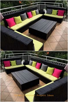 Creative DIY Wood Pallet Ideas - - Design your balcony or terrace in elegant style by re-claiming wood pallets. We have crafted excellent black colored sofa to decor outdoor area marvelously. This creatively crafted wood pallet furn…. Pallet Furniture Sofa, Pallet Furniture Designs, Diy Pallet Sofa, Diy Garden Furniture, Diy Furniture Projects, Diy Pallet Projects, Pallet Ideas, Outdoor Pallet, Outdoor Furniture