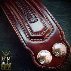 Leather cuff wristband Native Western style hand tooled with