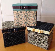 Caixinhas de Chá ou Café da Tarde feitas pela artesã Carla Pedreira com estampas da Fabricart Tecidos