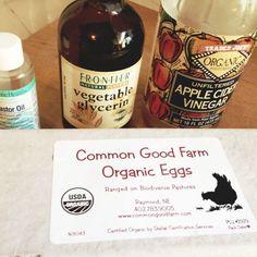 castor oil, vegetable glycerine, apple cider vinegar, organic eggs.