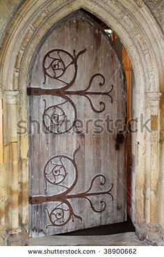 Wooden door and stone arch to a Medieval English Abbey by Chrislofotos via Shutterstock & Me too door hinge me too. | Weird Hinge Fetish | Pinterest ... pezcame.com