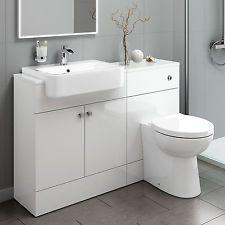Bathroom Toilet and Furniture Storage Vanity Unit Sink Basin White 1160mm MV2004