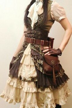 Amazing steampunk ruffles, lace and belts.