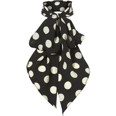 Spot Pussybow Scarf (13 BAM) ❤ liked on Polyvore featuring accessories, scarves, women, black scarves, polka dot scarves, black shawl and woven scarves