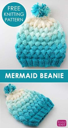 Bubble Stitch Beanie Hat Knitting Pattern by Studio Knit. - Knit Hat Patterns - Bubble Stitch Beanie Hat Knitting Pattern by Studio Knit. Loving my Mermaid Beanie! Super creative and fun to knit. Learn How to Knit a Bubble Beanie Hat with Studio Knit. Baby Knitting Patterns, Loom Knitting, Knitting Stitches, Free Knitting, Crochet Patterns, Knitting Machine, Baby Patterns, Beanie Knitting Patterns Free, Beanie Pattern Free