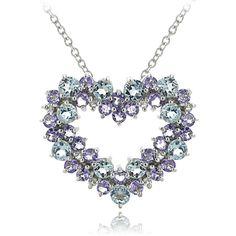 Sterling Silver Aquamarine Tanzanite & 1/10ct Diamond Cluster Heart Necklace #cluster #heart #necklace #diamond #tanzanite #silver #aquamarine #sterling