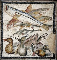 Fish and birds mosaic from Pompeii