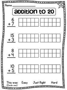 Addition to 20 with 10 frames help. lots of differentiated math worksheets! Printable Math Worksheets, 1st Grade Worksheets, Kindergarten Math Worksheets, 1st Grade Math, Teaching Math, First Grade, Math Activities, Grade 1, Math Math