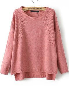 Romwe Vintage Knit Loose Red Sweater