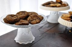 upcycle your dishware into cake stands, you could use random old glass light fixture covers too