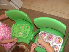 Easter Party Activities for Kids... pictured is Spring Sorting...using tweezers and muffin tins, kids sort those little erasers you can buy at the dollar store.