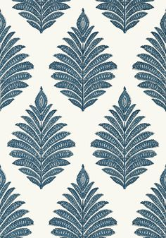 PALAMPORE LEAF, Blue and White, AT78725, Collection Palampore from Anna French