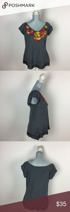 ⚡️Flash sale! C. Keer cap sleeve knit top C. Keer from Anthropologie gray cap sleeve knit top with multi colored embellished flower neckline and gray sheer edging on bottom. Sheer edging has unfinished hem details. No holes, stains, rips, tears, or pilling noted. Reasonable offers accepted. No trades please :) Anthropologie Tops Tees - Short Sleeve