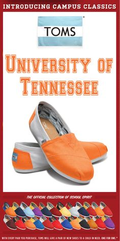 TOMS Shoes University of Tennessee Campus Classics - One for One