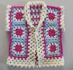 Gilet Crochet, Crochet Tunic, Crochet Clothes, Crochet Granny, Baby Girl Vest, Handgemachtes Baby, Crochet Girls, Newborn Crochet, Handmade Baby Clothes