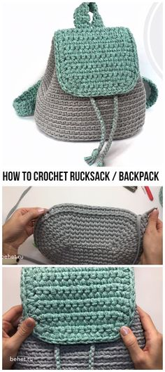 How To Crochet Rucksack / Backpack Free Tutorial - Crochetopedia Mochila Crochet, Crochet Tote, Crochet Handbags, Crochet Purses, Cute Crochet, Crochet Crafts, Crochet Hooks, Crochet Projects, Knit Crochet