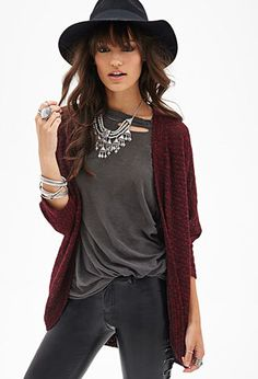 I like everything but the hat, but that's because hats don't look good on me Knit Dolman Cardigan Cardigan Outfits, Casual Outfits, Cute Outfits, Maroon Cardigan Outfit, Knit Cardigan, Legging Outfits, Mom Outfits, Soft Grunge, Grunge Style