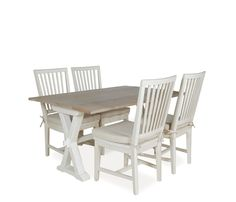 """Hyannis 5-Piece Flip Top Dining Set with Washed Linen Chairs - 5-Piece Dining Set: 57""""w x (18""""-36"""")d x 31""""h Hyannis Dining Table, four 19""""w x 22""""d x 40""""h Hyannis Side Chairs.Exclusive"""
