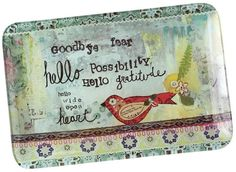 tava din sticla Kelly Rae Roberts, Note To Self, Plates, Floral, Collection, Decorative Glass, Home Decor, Mixed Media, Iron
