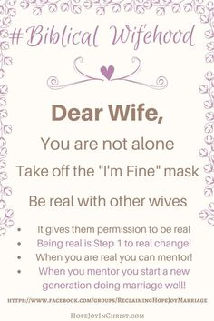 Dear Wife You are not alone (Christian Marriage Resources, Biblical Wifehood) (scheduled via http://www.tailwindapp.com?utm_source=pinterest&utm_medium=twpin)