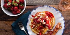 Buttermilk pancakes with roasted strawberries