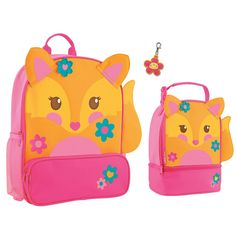 Stephen Joseph Girls Sidekick Fox Backpack and Lunch Box with Zipper Pull Set > Additional details found at the image link : Travel Backpack Travel Backpack, Backpack Bags, Best Kids Backpacks, Lunch Box Set, Carry On Size, Preschool Age, Boy Quilts, Cute Fox, Camping And Hiking