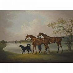 A Pair of Hunters Held by a Groom, with a Newfoundland Dog, by a Lake, 1829, by Daniel Clowes (1774-1829)