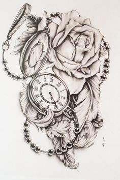 Rose watch Clock Tattoos, Clock Face Tattoo, Clock And Rose Tattoo, Rose Clock, Pocket Watch Tattoo Design, Pocket Watch Drawing, Clock Tattoo Design, Pocket Watch Tattoos, Compass Tattoo Meaning