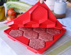 Burger Master® Innovative 8 in 1 Burger Press & Freezer Container  http://www.shapeandstore.com/products/burger-master