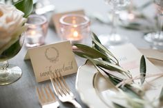 Embossed laurel placecards - Romantic Chicago Wedding Inspiration - Featured on Ruffled Blog, May 2013