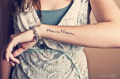 """hakuna matata""  - it means no worries for the rest of our days..  tattoo i am getting Thursday @ 2:00 at true tattoo in memory of jessie.  <3"