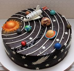 Süße Kindergeburtstagstorten Petits Anges - Make-up - Sweet Petits Anges Kindergeburtstagskuchen - Bolo Do Sistema Solar, Fancy Cakes, Cute Cakes, Beautiful Cakes, Amazing Cakes, Solar System Cake, Diy Solar System, Galaxy Cake, Cakes For Boys
