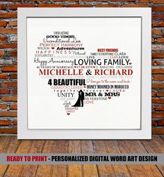 Are you looking for the perfect Wedding Anniversary gift for a lovely couple? Then choose from this lovely ready to print personalized digital word