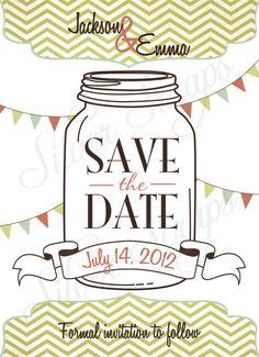 Vintage Mason Jar - Custom Digital Save the Date Card - Green Teal Pink Aqua Rustic Wedding Barn Bunting Banner Flags - Printable DIY