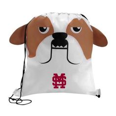 The Custom Branded Paws & Claws Bulldog Drawstring Backpack has a bulldog face with fun 3-dimentional features, double drawcord closure, and a large imprint area