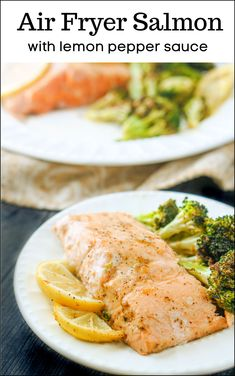 This dinner is so easy and it's really healthy too with fresh salmon in a lemon pepper sauce and broccoli florets too. Easy and tasty dinner that is low carb too! Air Fryer Recipes Vegan, Air Fryer Dinner Recipes, Air Fryer Healthy, Lunch Recipes, Breakfast Recipes, Vegan Recipes, Lemon Pepper Sauce, Lemon Pepper Salmon, Broccoli Florets