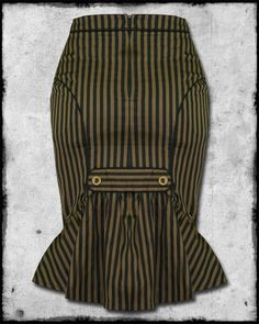 steampunk skirt | ... Black Brown Stripe Copper Button Steampunk Gothic Pencil Skirt | eBay